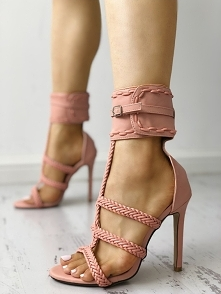 Knitted Strap Anklet Buckle Open Toe Heeled Sandals