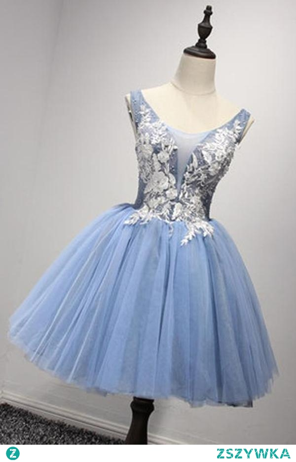 Luxurious A-line Straps Knee Length Short Organza Homecoming Dresses M463