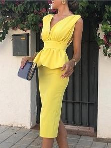 Solid Deep V-Neck Peplum Backless Bodycon Dress Rozmiar: S, M, L, XL Kolor: y...