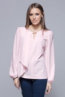Elegancka bluzka z asymetryczna falbanką z przodu