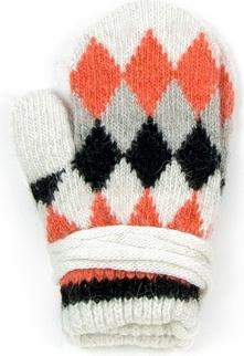 Szaleo Rękawiczki dziecięce Trapezy białe (rkq052)