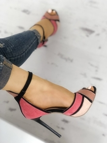 Colorblock Ankle Strap Thin Heeled Sandals Rozmiar: US4, US4.5, US5.5, US6, US7, US8, US8.5, US9.5, US10, US11 Kolor: hot pink