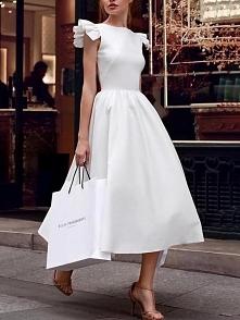 Solid Ruffle Sleeve Swing Dress Rozmiar: S, M, L, XL Kolor: white