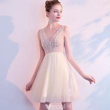 Seksowne Szampan Sukienki Koktajlowe 2018 Princessa Frezowanie Cekiny V-Szyja Bez Pleców Bez Rękawów Krótkie Sukienki Wizytowe