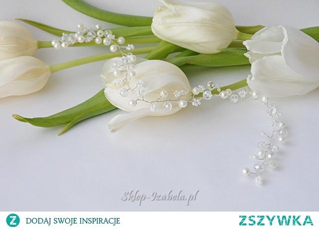 ozdoba do włosów z perełkami i kryształkami na ślub