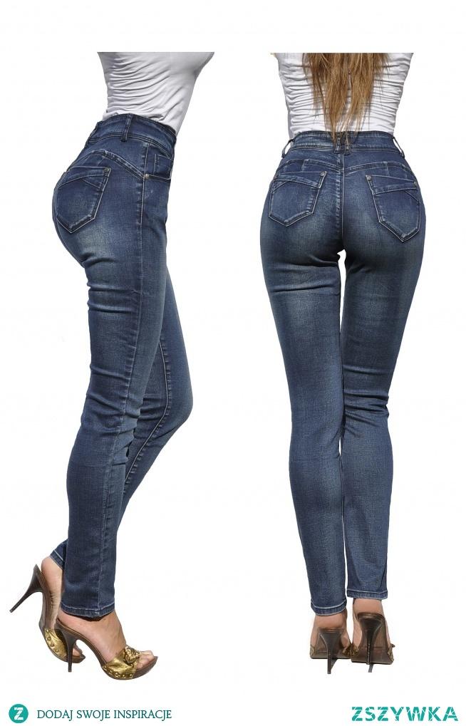 Modne Spodnie Damskie Jeans Denim Dopasowane Mamuśki Klasyczne Mom Jeans Wysoki Stan Duża Pupa Zgrabne Wiosna Lato Jesień model #115FASHIONAVENUE.PL