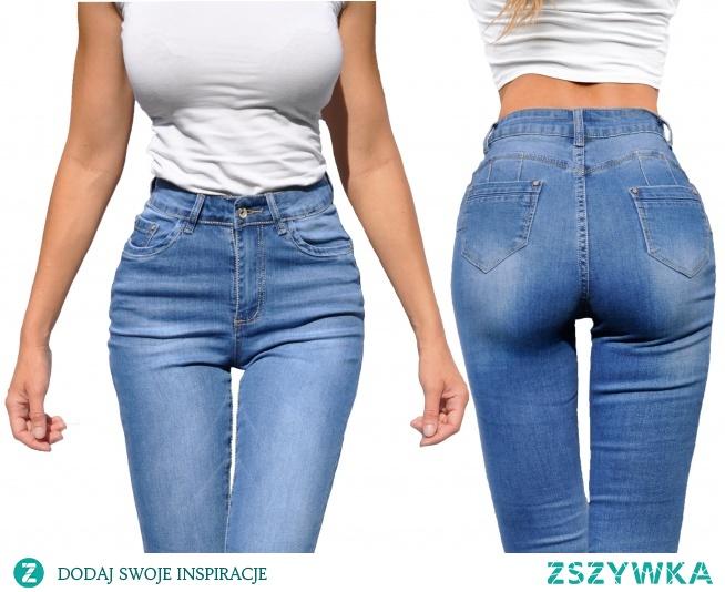 Modne Spodnie Damskie Jeans Denim Dopasowane Mamuśki Rurki Wysoki Stan Duża Pupa Zgrabne Wiosna Lato Jesień model #3662 FASHIONAVENUE.PL