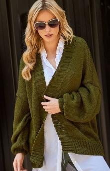 Makadamia S78 sweter khaki Doskonały kardigan damski będzie idealna propozycją na każdą porę roku, luźny fason wygląda świetnie na każdej sylwetce, szerokie rękawy