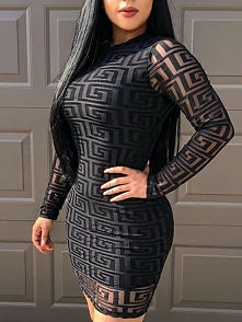 G Inspired Print Keyhole Back Bodycon Dress Rozmiar: S, M, L, XL Kolor: black