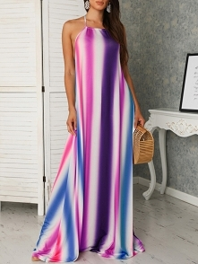 Colorful Striped Halter Backless Maxi Dress Rozmiar: S, M, L, XL, 2XL Kolor: purple