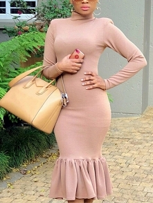 Solid Long Sleeve Pep Hem Bodycon Dress Rozmiar: S, M, L, XL Kolor: pink