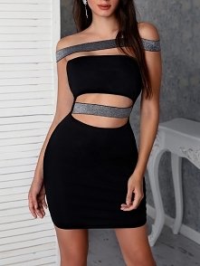Off Shoulder Sequins Bandage Cutout Bodycon Dress Rozmiar: S, M, L, XL Kolor: black