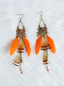 Feather Long Tassel Bohemian Jewelry Earrings Rozmiar:  Kolor: orange