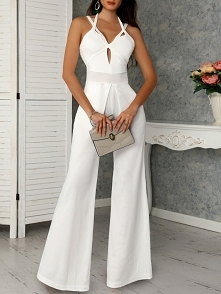 Cutout Crisscross Bandage Wide Leg Jumpsuit Rozmiar: S, M, L, XL Kolor: white
