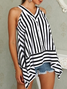 Casual Striped V-Neck Sleeveless Irregular Top Rozmiar: S, M, L, XL Kolor: black