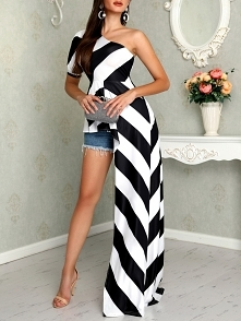 One Shoulder Contrast Striped Asymmetric Blouse Rozmiar: S, M, L, XL Kolor: black&white