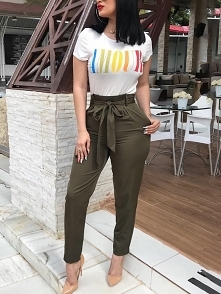 Solid Self Belted Pocket Pencil Pants Rozmiar: S, M, L, XL Kolor: Army green