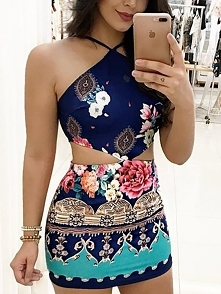 Ethnic Print Halter Cutout Waist Bodycon Dress Rozmiar: S, M, L, XL Kolor: purplish blue
