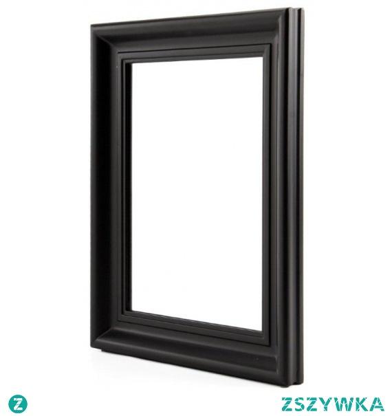 Lustro prostokątne w czarnej ramie 50x40