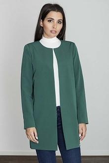 Zielony Pudełkowy Kobiecy Płaszcz bez Zapięcia