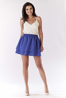 Niebieska Spódnica Mini z Podwójną Falbanką