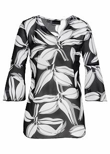 Tunika z nadrukiem bonprix czarno-biały