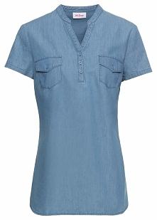 Tunika dżinsowa, krótki rękaw bonprix średni niebieski
