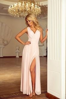 Brzoskwiniowa Sukienka Wieczorowa Maxi z Dekoltem V