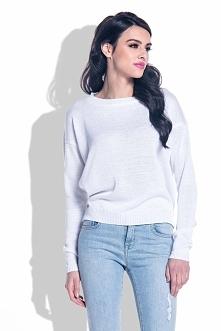 Biały Lekki Sweterek z Wycięciem na Plecach