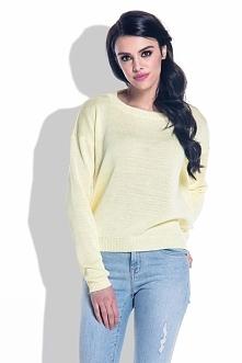 Żółty Lekki Sweterek z Wycięciem na Plecach