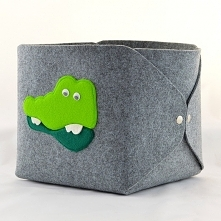 Pudełko na Zabawki - Krokodyl na Szarym