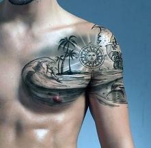 tatuaże 3d plaża na piersi