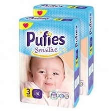 Pieluchy Pufies Sensitive 3 Midi Maxi Pack, 132 szt.