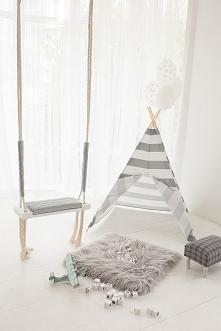 Namiot w paski, biało-szare tipi Grey Stripes