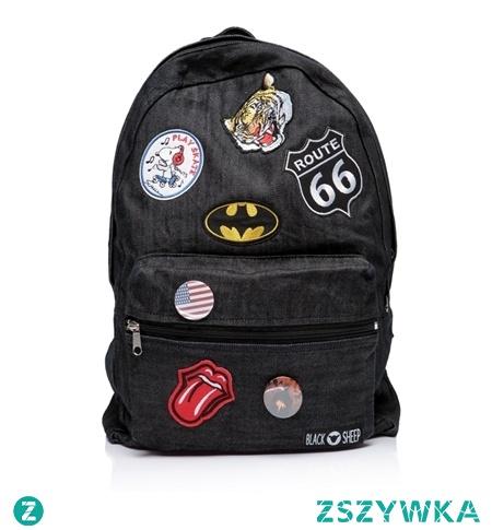 Czarny plecak vintage szkolny. Duży i solidnie wykonany z 100% denimu. Sprawdzi się jako plecak męski lub damski.