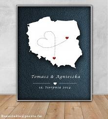Plakat w ramie A4 ślub mapa