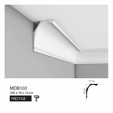 Klasyczna listwa przysufitowa MDB103 Mardom Decor z kolekcji Prestige to sporych wymiarów sztukateria dekoracyjna. Klasyczny łukowaty kształt z delikatnymi przetłoczeniami po ob...