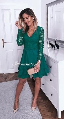 Sukienka w kolorze butelkowej zieleni- musthave tej jesieni! <3 Tylko na I...