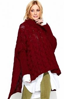 Makadamia S71 sweter bordowy Modny sweter damski o luźnym uniwersalnym fasonie, dostępny w kilku kolorach,z pewnością doskonale sprawdzi się na chłodniejsze dni