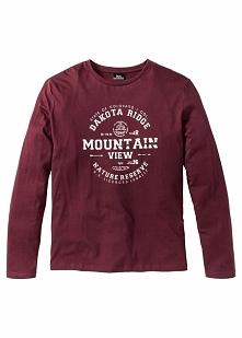Shirt z długim rękawem i nadrukiem Regular Fit bonprix czerwony klonowy