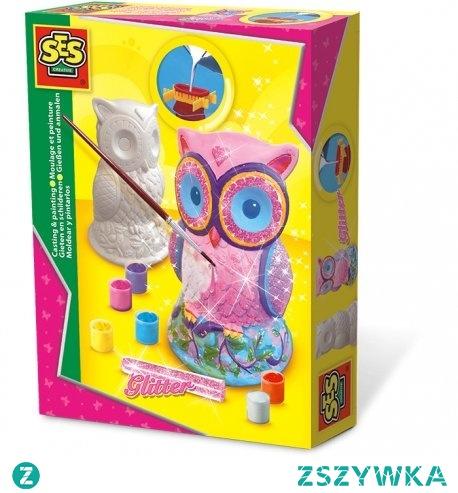 """Będzie """"odlewowo"""":)  Odlew gipsowy sówka w formacie 3D dla dzieci od 5-12 lat.   Zestaw zawiera gips, farby, plastikowy szablon sowy. Figurka dodatkowo ładnie błyszczy jeśli obsypiemy ją załączonym brokatem - też jest:)  Świetna zabawa:)"""