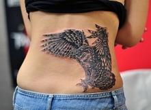 lower back tattoo owl