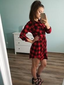 Sukienka krata czerwień. dostępna w butiku internetowym karolinettastyle.pl