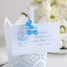 Bileciki podziękowanie Błękitny wózek 20 szt. Urocze, białe bileciki z nowocz...
