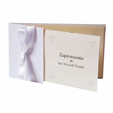 Zaproszenia na chrzest z kokardą 10szt Cudowne zaproszenie na Chrzest Święty z ozdobną kokardą w białym kolorze!