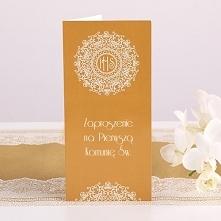 Zaproszenia komunijne Złota Koronka 10szt Fantastyczne zaproszenia komunijne z kolekcji IHS Exclusive zachwycą Twoich gości!