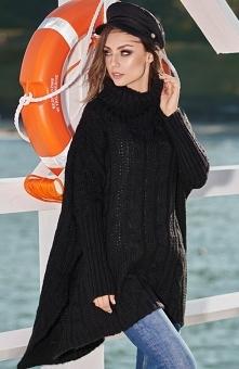 Lemoniade LS215 sweter czarny Komfortowy luźniejszy sweter damski został wykonany z przyjemnej dla ciała moherowej dzianiny, doskonale sprawdzi się na chłodniejsze dni, sweter w...