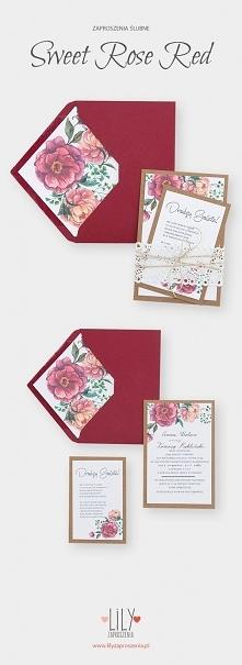 Kwiatowe zaproszenia ślubne z kolekcji Sweet Rose Red.