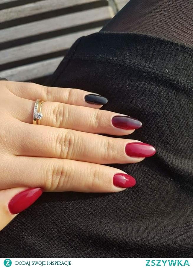 ombre czerwono czarne