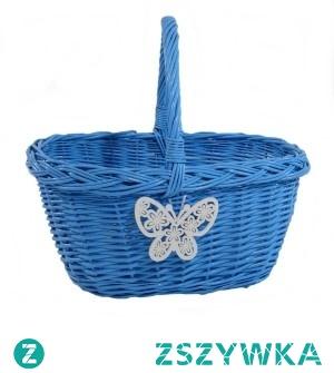 Duży solidny wiklinowy koszyk na zakupy w kolorze błękitnym z motylkiem. Koszyk wypleciony z polskiej wikliny, malowany.